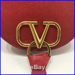 $1875 Valentino Vring Crossbody Saddle Bag Purse Fold Over Red Leather U Shape