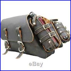 ALL HARLEY-DAVIDSON SPORTSTER THROW OVER SADDLE BAG SET LA ROSA rustic black