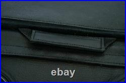 Black Leather Concealed Carry Saddlebag With Flame-Universal Fit-Throw Over Bags