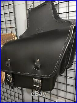Black Leather Slanted Throw Over Saddle Bags With Chrome Accessories Motorcycle