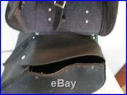 Black Leather Throw Over Saddle Bags, Harley Davidson XL