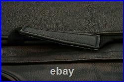 Brown Leather Concealed Carry Saddlebag With Flame-Universal Fit-Throw Over Bags