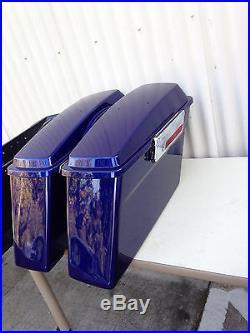 Complete Hard Touring Saddlebags Cobalt Blue for Harley Touring Models