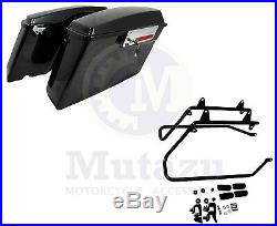 Complete Vivid Black Hard Saddlebags & Conversion Brackets for Harley Softail