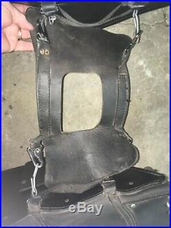 Harley Davidson Fxd Black Leather Fringed Stud Throw Over Saddle Bags W Fork Bag