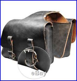 Harley-davidson Sportster Classic Throw Over Saddle Bag Set La Rosa Rustic Black