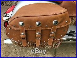 Indian Motorcycle Tan Leather Saddle Bag Complete Set