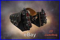 LaRosa 04-UP HD Sportsters Throw Over Saddle Bag Set-Rustic Black w Fuel Bottle