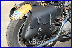 LaRosa Black Leather Harley Sportster Throw Over Left & Right Saddlebag Set