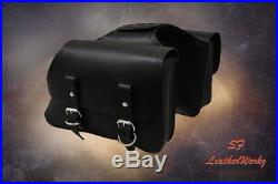 LaRosa Design All HD Sportsters Throw Over Saddle Bag Set - Black Plain Leather