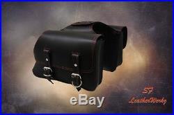LaRosa Design All HD Sportsters Throw Over Saddle Bag Set - Black w Red Thread