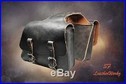 LaRosa Design All HD Sportsters Throw Over Saddle Bag Set-Rustic Black Leather