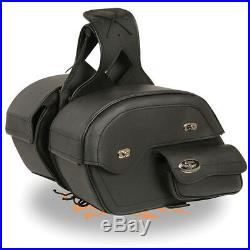 Large Cruiser Style Slant Pouch Throw Over SaddleBag with Gun Holster MP8306 BLK