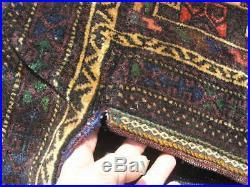 Large Vintage Baluchi Complete Double Cargo Saddle Bag Pile Brocade Kilim 24x59