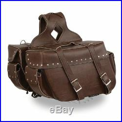 Milwaukee Leather Large Antique Brown Zip-Off Throw Over Riveted SaddleBag (SET)