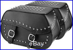 Motorcycle Studded Black Leather Throw Over Saddlebags withReinforced Armor