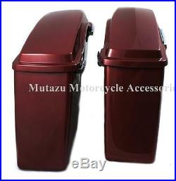 Mutazu Complete Fire Red Stock Hard Saddlebags for Harley Touring FLHR FLTR FLHX