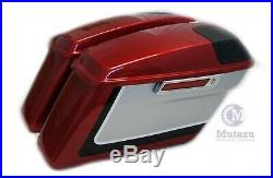 Mutazu Red Complete Saddlebags with 5x7 Speaker lids for 2014-up Harley Touring