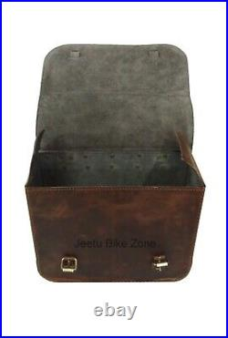 New Pair Rusty Brown Pure Leather Throw Over Saddle Bag For BSA Triumph Norton