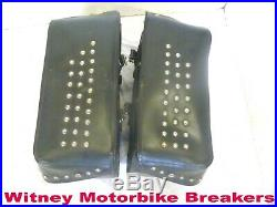Throw-over Saddle Bags Panniers Leather Pair Harley Custom Luggage Not Holed
