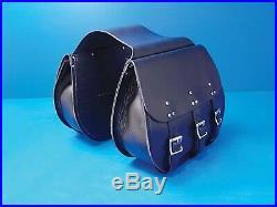 V-Twin Mfg 48-3128 3 Buckle Thro-Over Saddlebags Black
