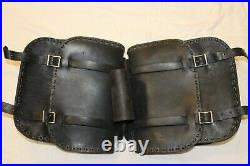 Vintage Throw-Over Universal Leather Motorcycle Saddlebags not Harley