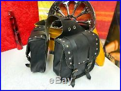 Willie & Max Straight Braided Series Throw Over Studded Leather Saddlebags