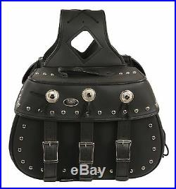 Zip-Off Heritage PVC Throw Over Saddle Bag with Studs for Harley, Honda Bikes